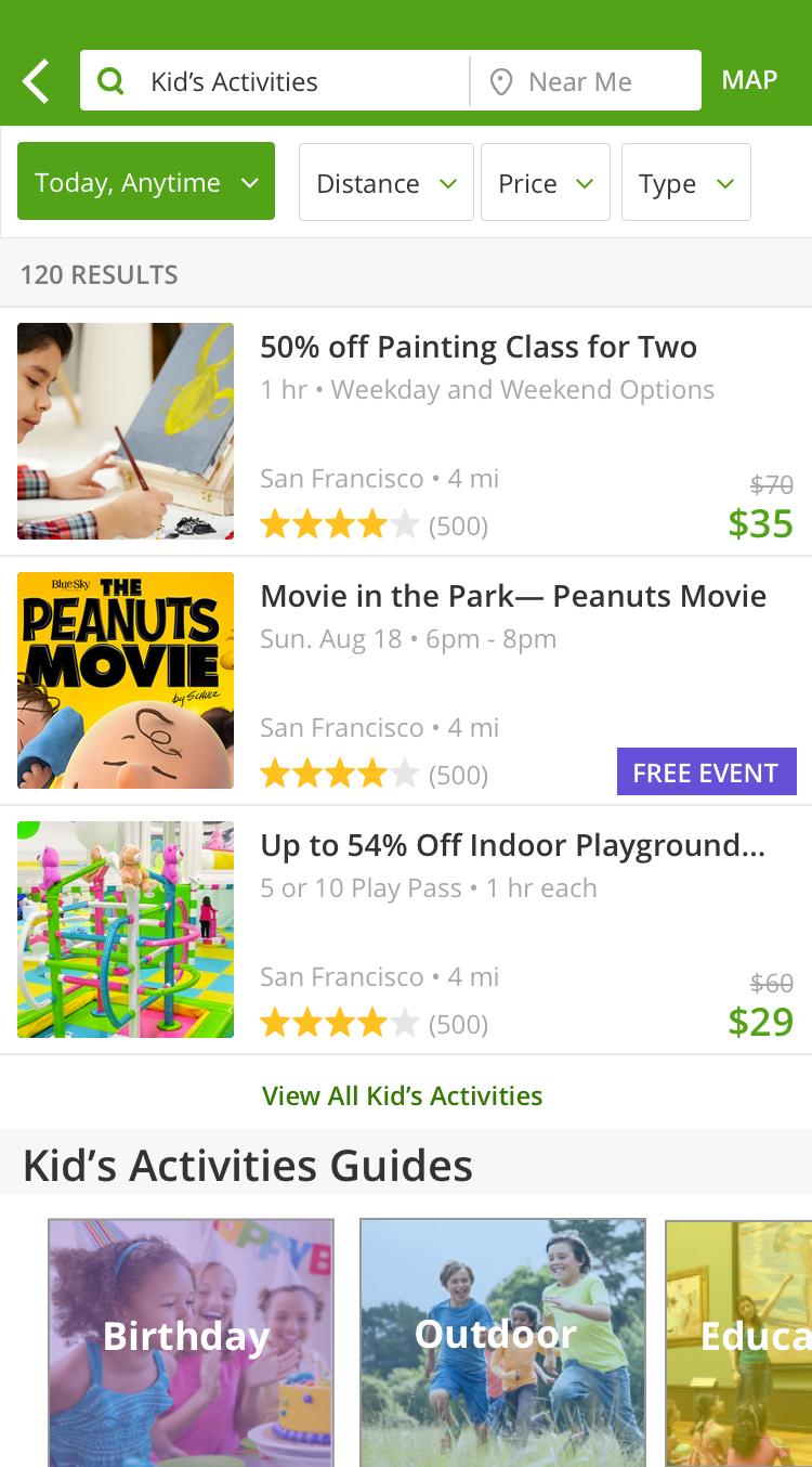 Kid's Activities Landing Page